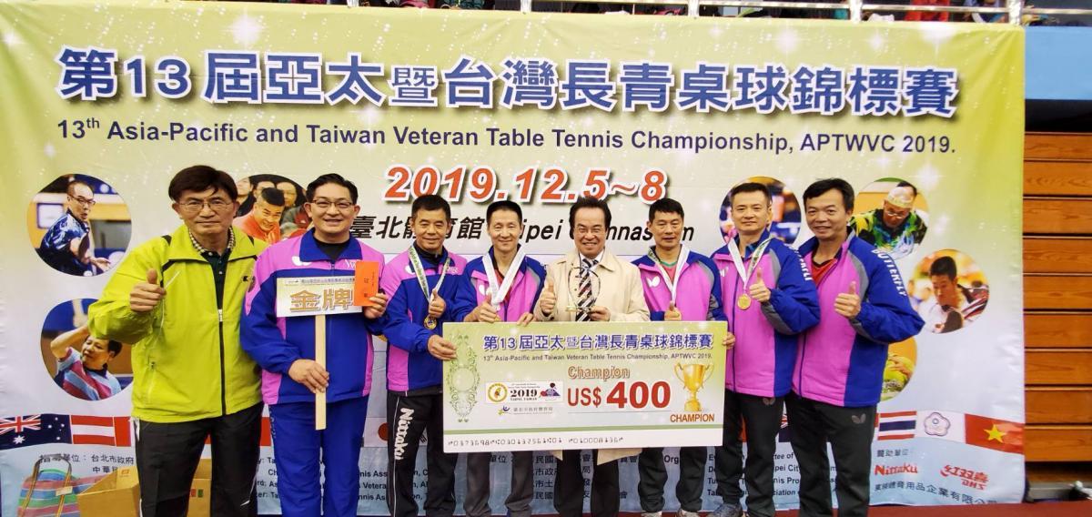 第13屆亞太盃長青桌球賽 Total Swiss 囊括男女團體及單打四個冠軍7面獎牌圖細胞營養之2